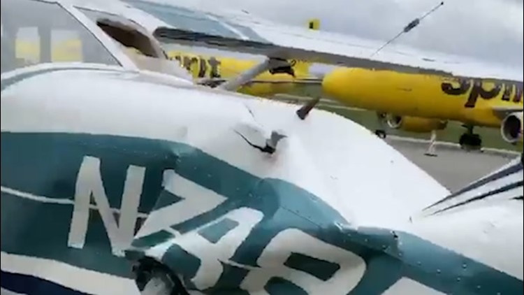 High winds damage plane at Pennsylvania airport
