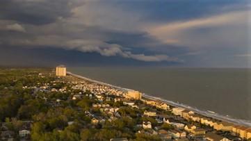 Drone captures evening storm over Myrtle Beach