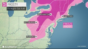 Coldest night of season so far to deliver frost to much of northeastern U.S.