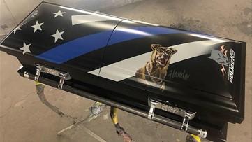 Custom casket made for Utah police K-9 killed in line of duty
