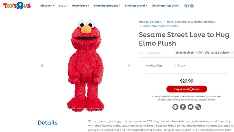 Elmo Toys R Us website
