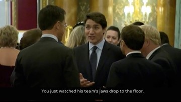 Trump calls Trudeau 'two-faced' after video showed NATO leaders appearing to gossip about him
