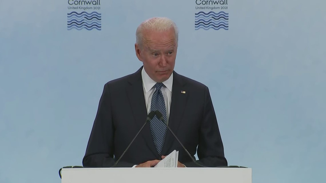 President Biden answers questions on vaccines and Russia at G-7 briefing