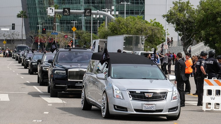 Nipsey Hussle procession Los Angeles April 11 AP
