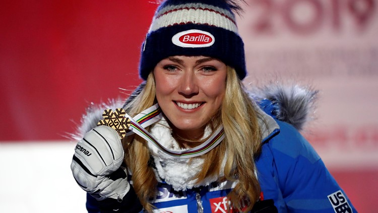 Sweden Alpine Skiing Worlds United States' Mikaela Shiffrin poses with her gold medal