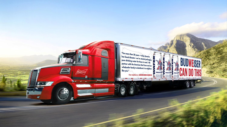 In advance of Hurricane Florence, Anheuser-Busch and Miller Coors are sending truckloads of water – 500,000 cans – to the region.