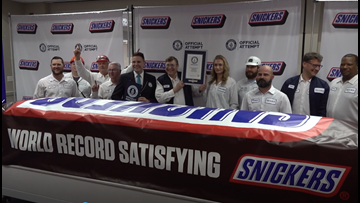 'Everything is bigger in Texas': World's largest Snickers bar unveiled in Waco