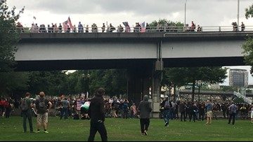 Right-wing rally, counter protests face off in Portland