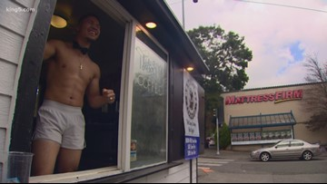 Shirtless male baristas are serving up espresso in Seattle
