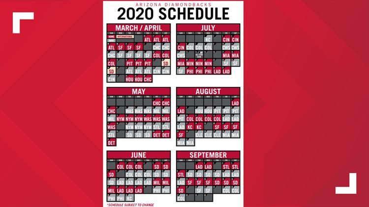 D-backs 2020 Schedule