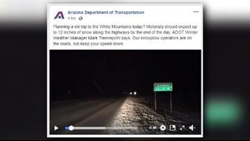 ADOT warns motorists of heavy snowfall expected near White Mountains
