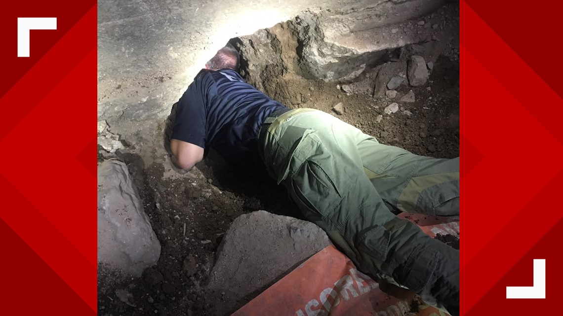 Incomplete tunnel discovered under a parking lot in Nogales