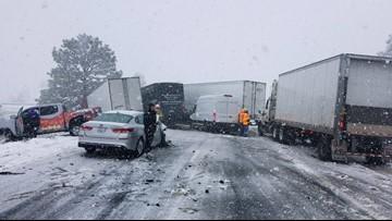 Crash involving 8 vehicles closes WB I-40 amid snow storm