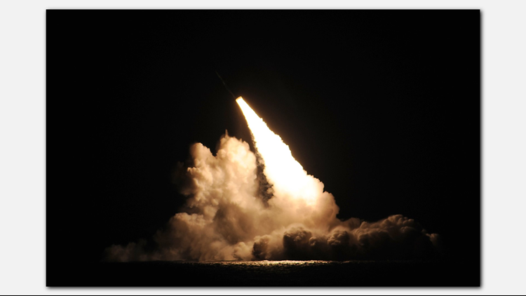A trident II D-5 ballistic missile is launched USS Kentucky during a missile test at the Pacific Test Range Nov.7, 2015.(U.S. Navy photo)