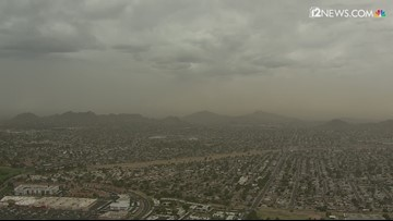 Sky 12 near Piestewa Peak captures storm clouds and dust moving into the Valley