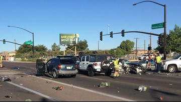 15 people involved in vehicle crash in Gilbert, one seriously hurt