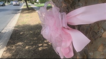 Neighbors hang pink ribbons to support family of 3-year-old girl who died in hot car