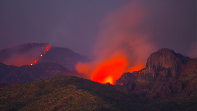 Woodbury Fire growth slows in Superstition Mountains as firefighters continue to battle flames