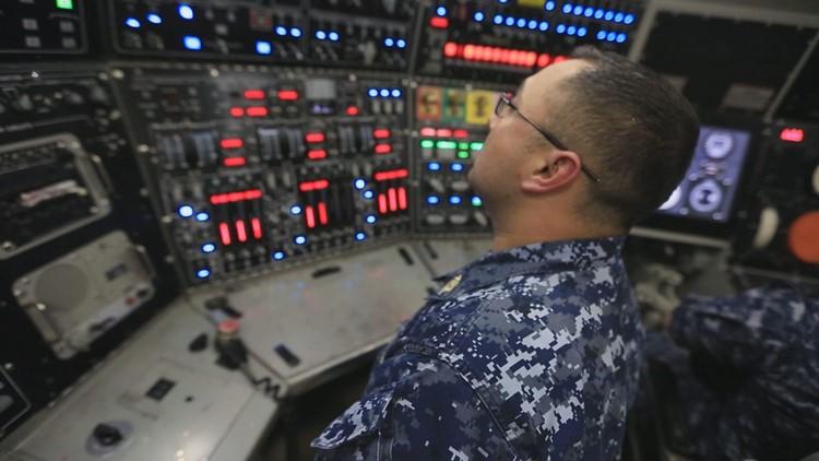 A crew member aboard the USS Kentucky. (Photo: Chad Bricks, 12 News)