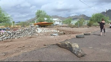 Rains and flooding carry away Apache Junction home