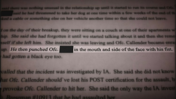 Excerpt from Mesa police investigation of Officer Scott Callender.