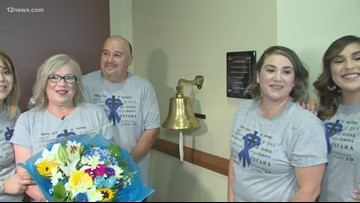 Cancer survivor rings the bell as she finishes her last chemotherapy