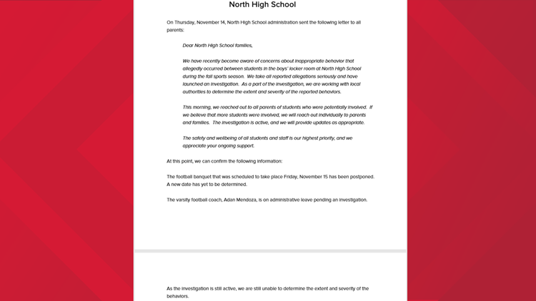 North High School Football Coach Letter