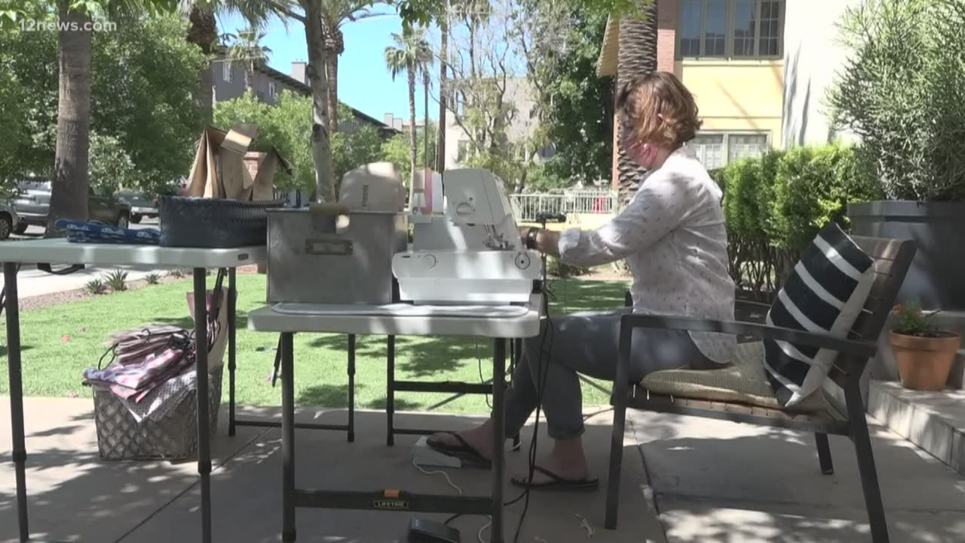 Phoenix Woman Sets Up Massive Mask Making Operation In Her Front