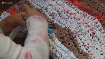 Elderly women create sleeping mats out of plastic bags for the homeless as a hobby