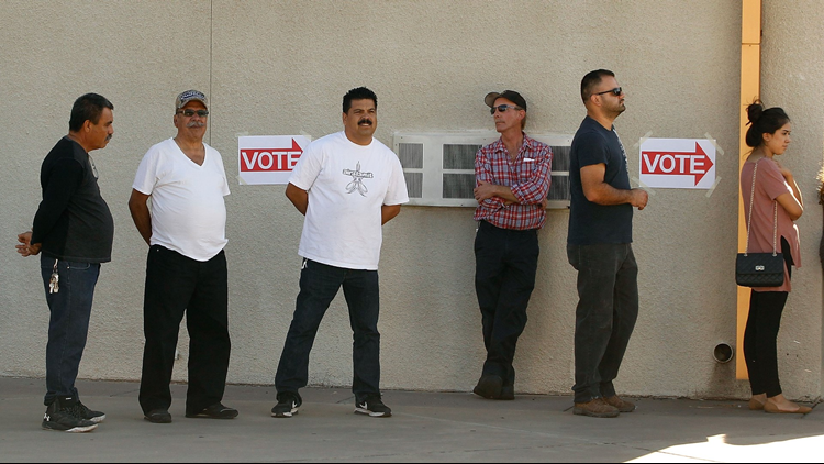 Voters in line at the Maryvale Church of the Nazarene polling station