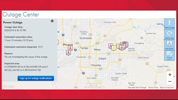 SRP outage map: More than 14,000 in East Valley without power as monsoon rolls in