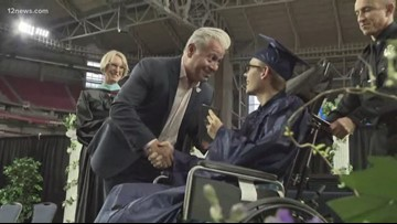Peoria teen graduates a week after losing part of his leg in motorcycle wreck