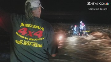 VIDEO: Crew rescues family of 5, puppy from flooding in Sycamore Creek