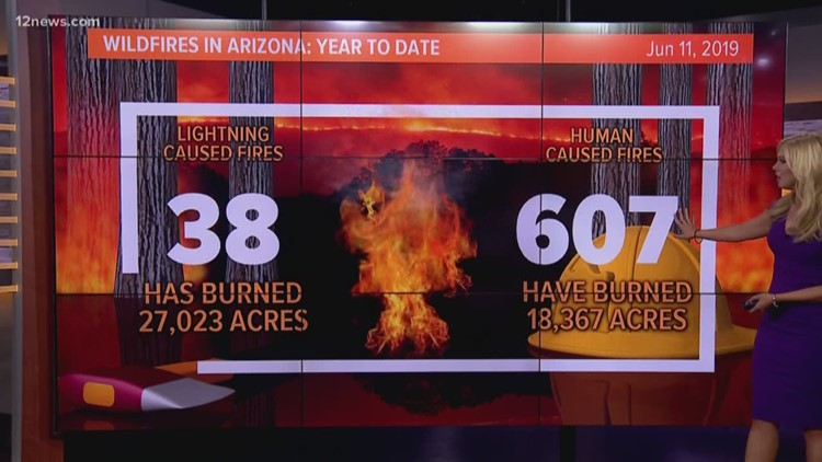 Year to date: Comparing 2019's lightning-caused vs human-caused fires in Arizona
