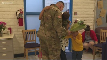 Military dad surprises family at son's elementary school after year-long deployment