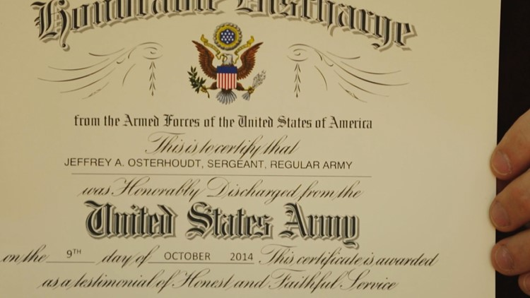 Jeff Osterhoudt's certificate of honorable discharge from the Army.