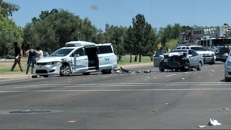 Waymo self-driving Pacifica hit in collision on Arizona street