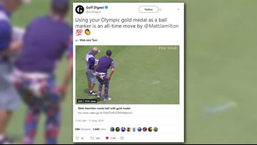 Olympic curler uses gold medal as ball marker at golf tournament
