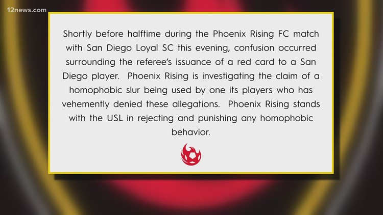 Phoenix Rising and San Diego Loyals release joint statement following homophobic slur incident