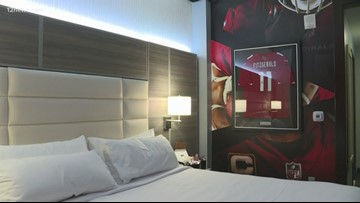 Stay in the Arizona Cardinals themed hotel room at Gila River Hotels