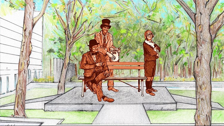 The bench, which will be installed this fall near the zoo's main lake, will feature life-sized statues of Wallace, Ladmo and Gerald.