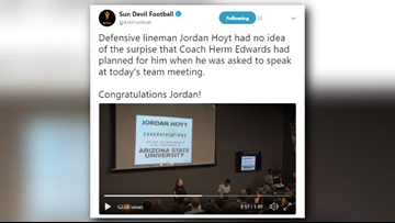 Herm Edwards surprises Sun Devil lineman with full scholarship