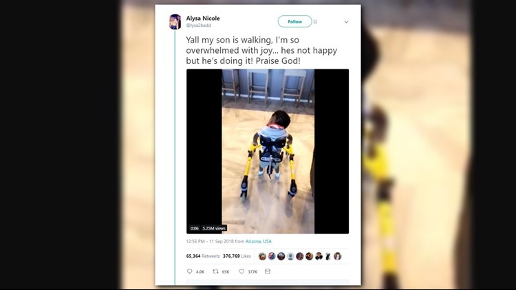 The breakthrough moment for the toddler went viral.