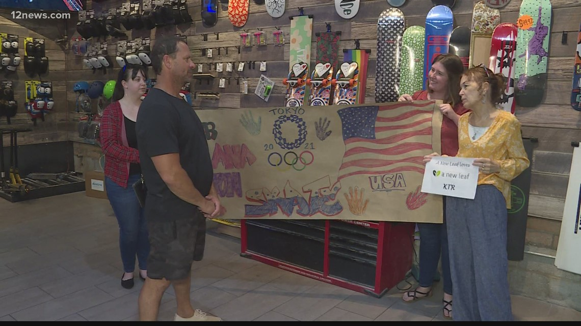 Mesa skateboarder headed to the Tokyo Olympics celebrated with banner of support