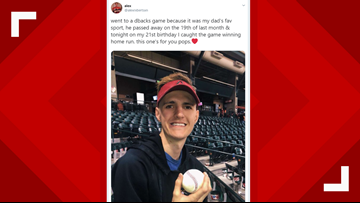 D-backs fan who recently lost dad catches walk-off home run ball on 21st birthday