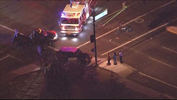 5 hurt after car hits motorcycle, causing 2 more crashes
