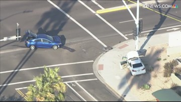 Pedestrian in critical condition after two-car crash at Scottsdale intersection