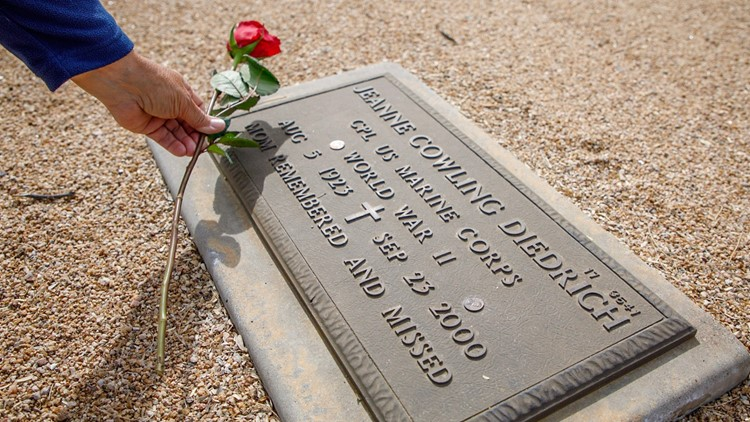 Veterans celebrate 'Women in Marine Corps' day by honoring the fallen with roses