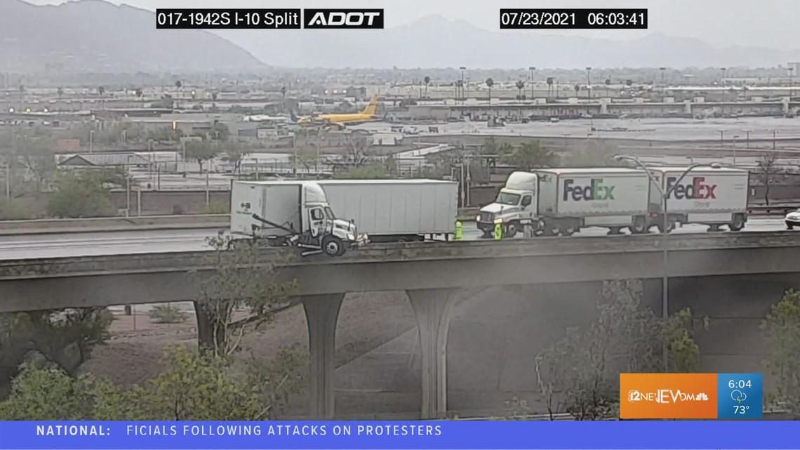 Semi-truck hangs off overpass on Arizona highway