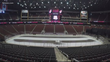 Crews are installing ice inside Gila River Arena for the upcoming Coyotes season